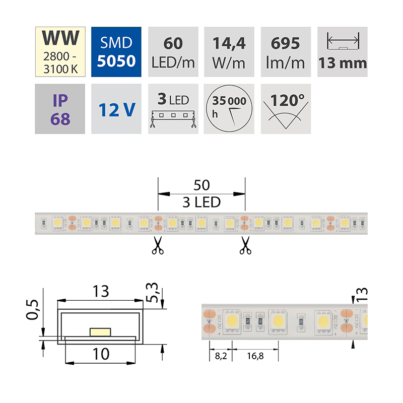 LED pásek SMD5050 teple bílá 1x3mm IP68 McLED 60 LED/metr, 14,4W/metr, DC 12 V, IP68