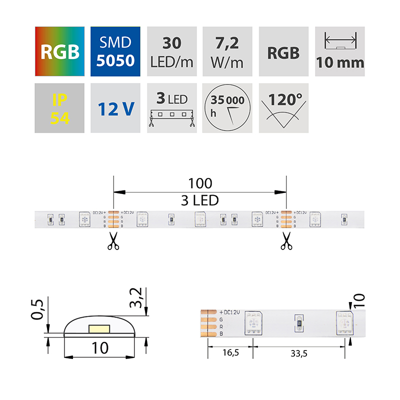 LED pásek SMD5050 RGB 10mm IP54 McLED 30 LED/metr, 7,2W/metr, DC 12 V, IP54