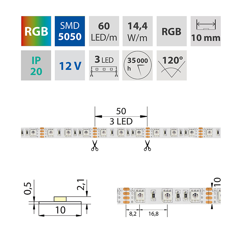 LED pásek SMD5050 RGB 10mm IP20 McLED 60 LED/metr, 14,4W/metr, DC 12 V, IP20