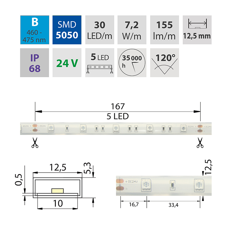 LED pásek SMD5050 modrá 12,x5mm IP68 McLED 30 LED/metr, 7,2W/metr, DC 24 V, IP68