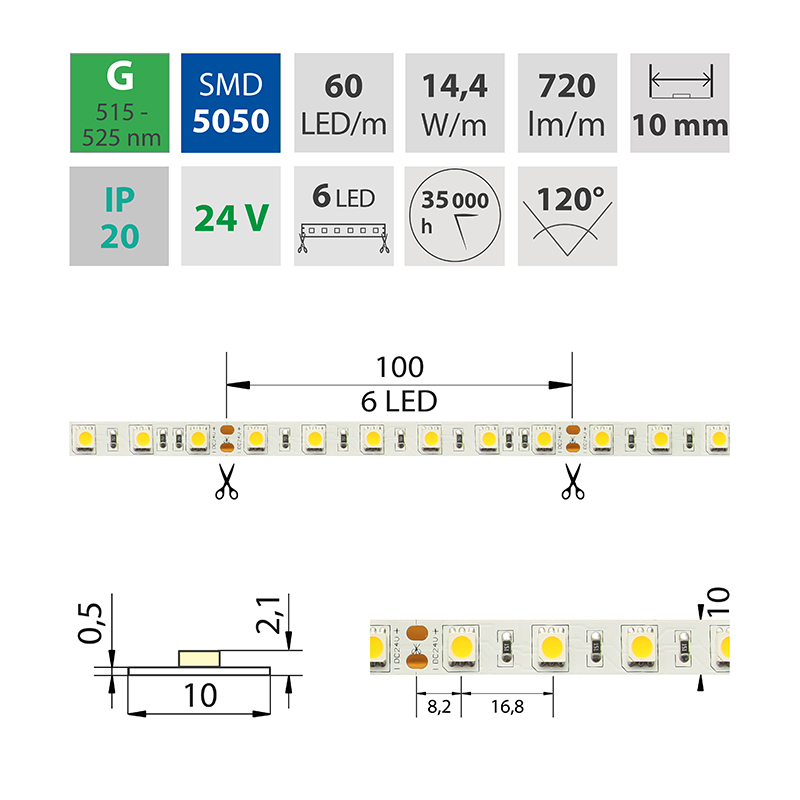 LED pásek SMD5050 zelená 10mm IP20 McLED 60 LED/metr, 14,4W/metr, DC 24 V, IP20