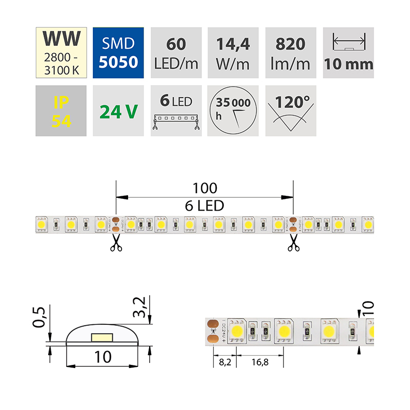 LED pásek SMD5050 teple bílá 10mm IP54 McLED 60 LED/metr, 14,4W/metr, DC 24 V, IP54