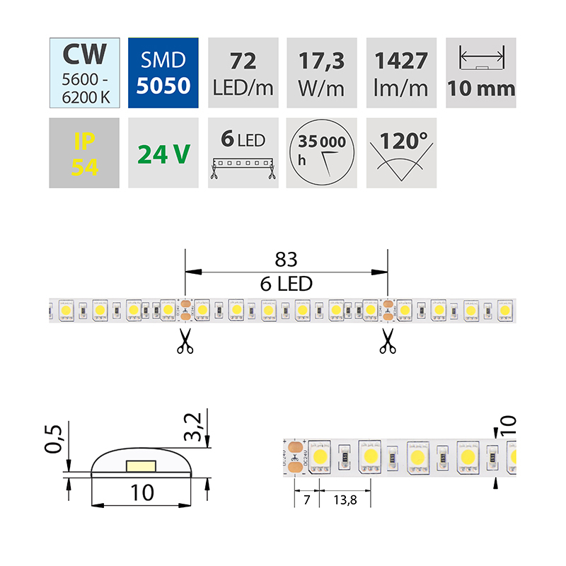 LED pásek SMD5050 studená bílá 10mm IP54 McLED 72 LED/metr, 17,3W/metr, DC 24 V, IP54