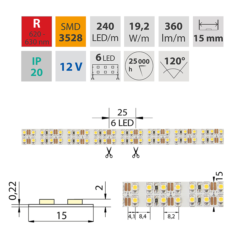 LED pásek SMD3528 červená 1x5mm IP20 McLED 240 LED/metr, 19,2 W/metr, DC 12 V, IP20