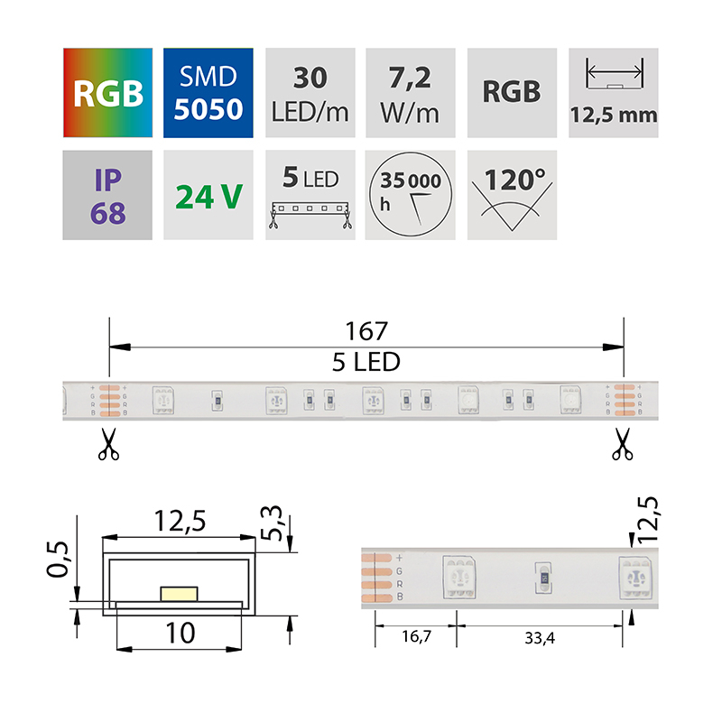 LED pásek SMD5050 RGB 12,x5mm IP68 McLED 30 LED/metr, 7,2W/metr, DC 24 V, IP68
