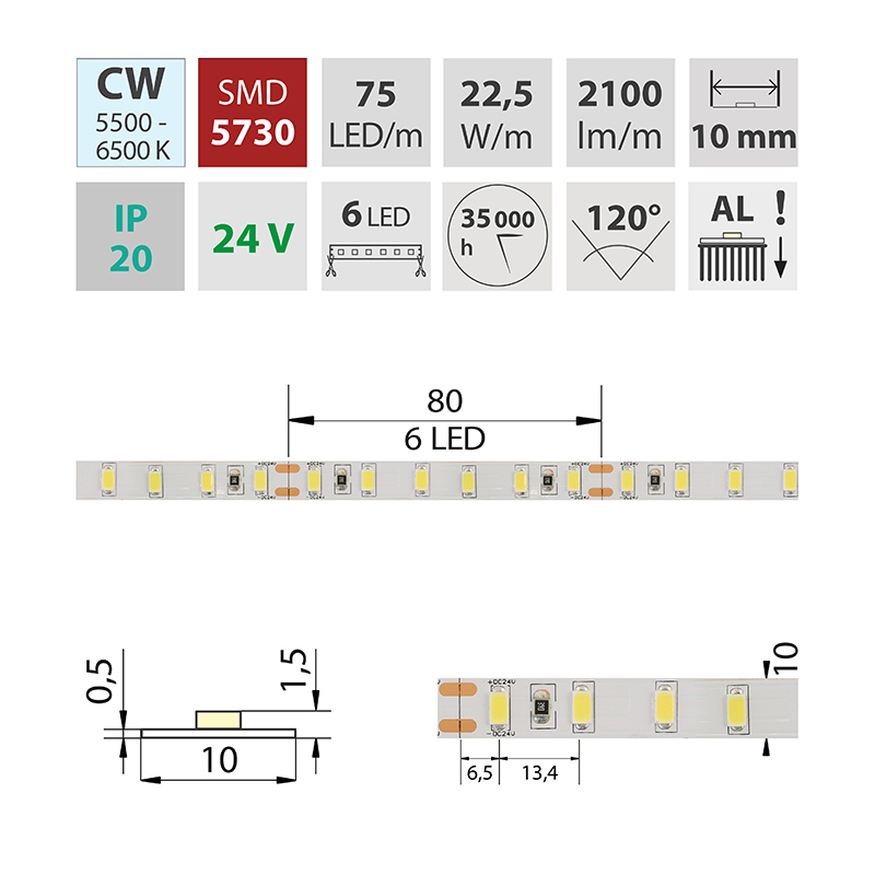 LED pásek SMD5730 studená bílá 10mm IP20, McLED 75 LED/metr, 24 W/metr, DC 24 V, IP20