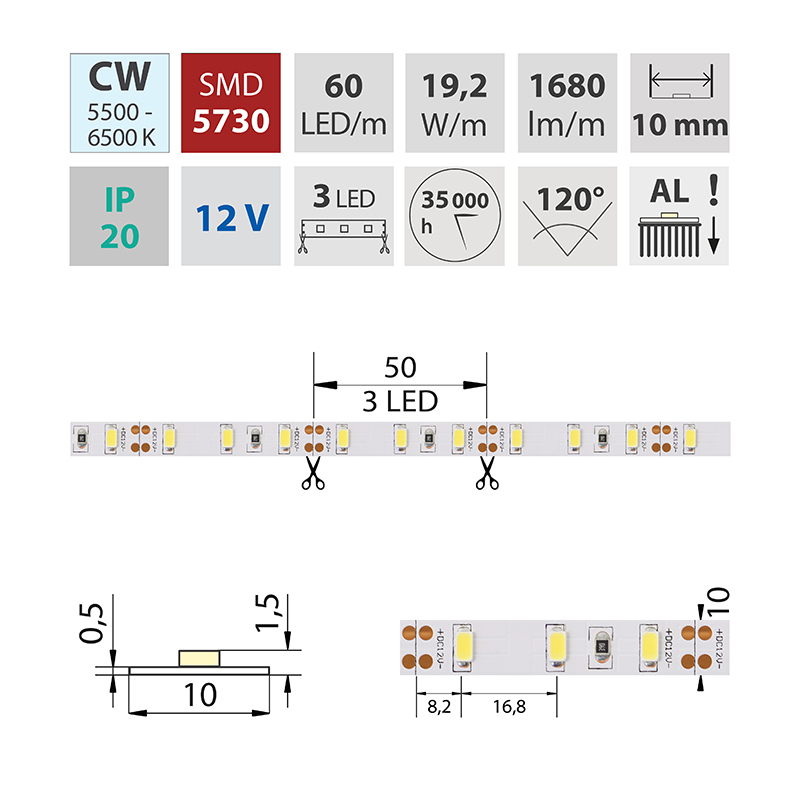 LED pásek SMD5730 studená bílá 10mm IP20, McLED 60 LED/metr, 19,2 W/metr, DC 12 V, IP20