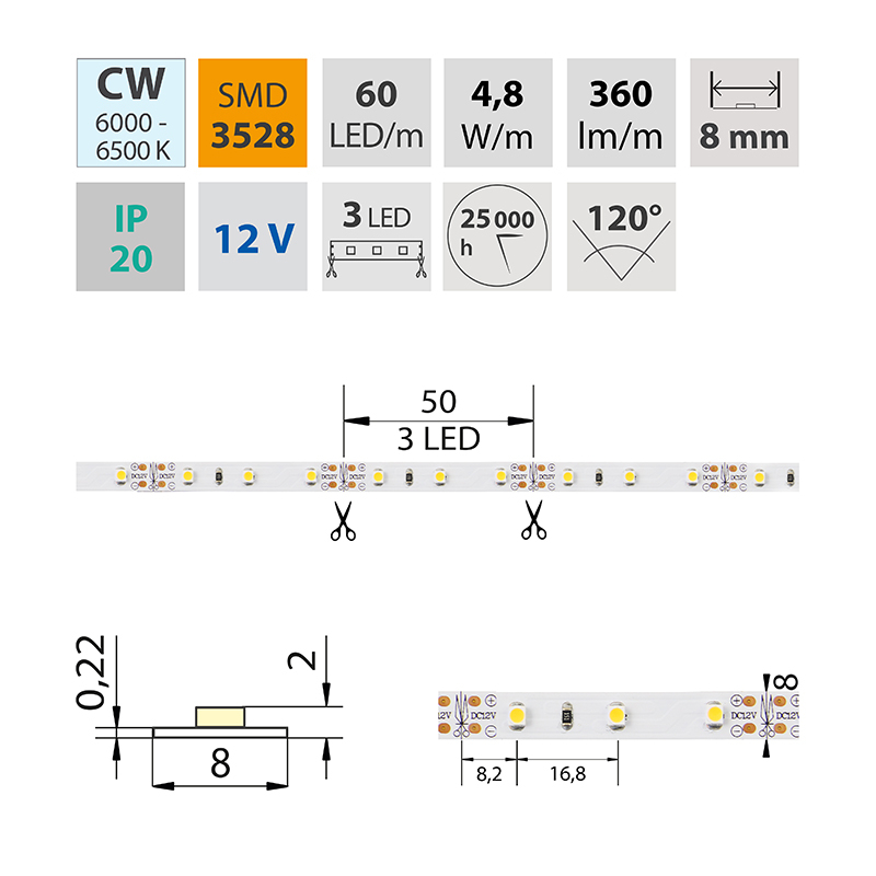 LED pásek SMD3528 studená bílá 8mm IP20, McLED 60 LED/metr, 4,8 W/metr, DC 12 V, IP20