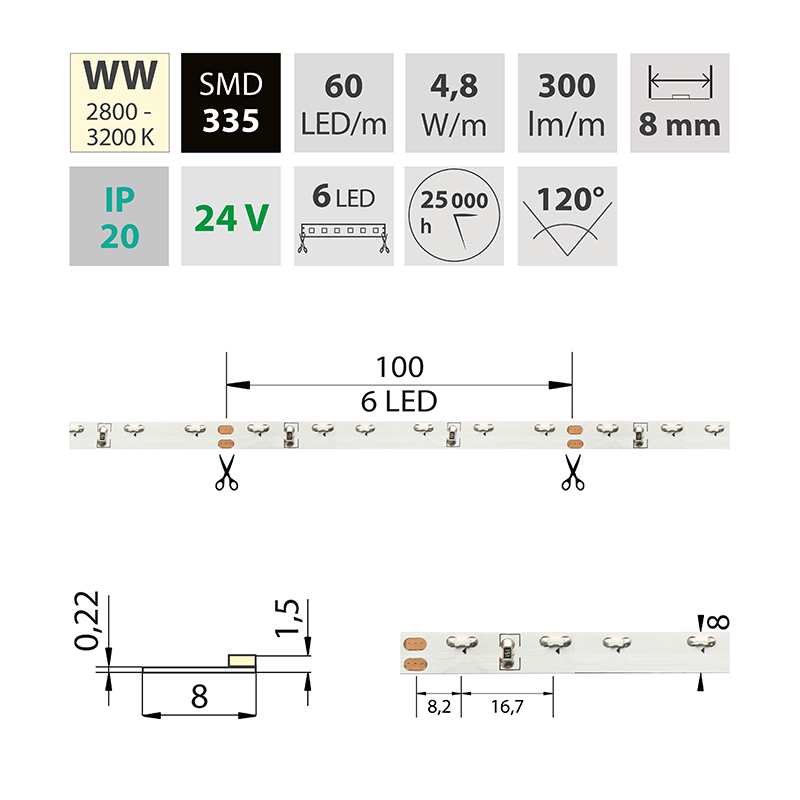LED pásek SMD335 teple bílá 8mm IP20, McLED 60 LED/metr, 4,8 W/metr, DC 24 V, IP20