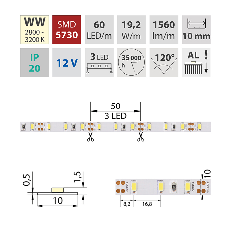 LED pásek SMD5730 teple bílá 10mm IP20, McLED 60 LED/metr, 19,2 W/metr, DC 12 V, IP20