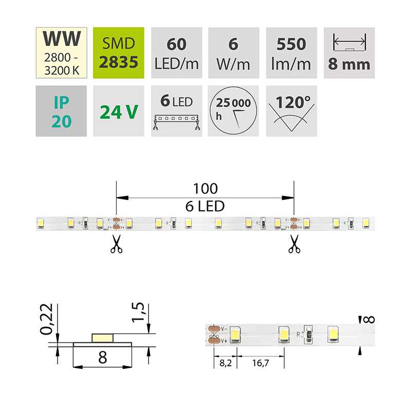 LED pásek SMD2835 teple bílá 8mm IP20, McLED 60 LED/metr, 6 W/metr, DC 24 V, IP20