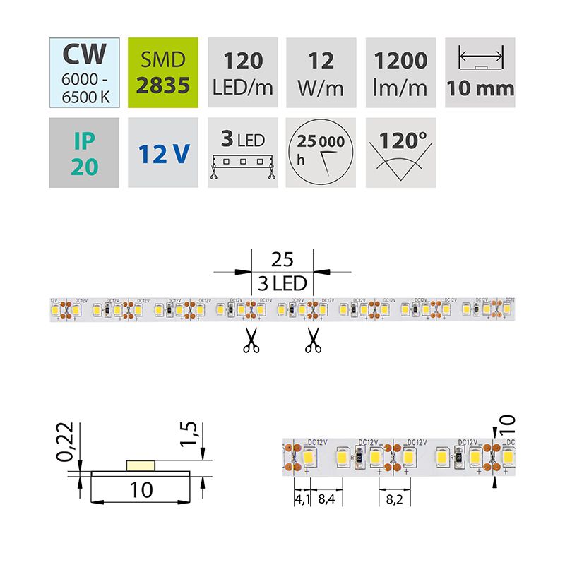 LED pásek SMD2835 studená bílá 10mm IP20, McLED 120 LED/metr, 12 W/metr, DC 12 V, IP20