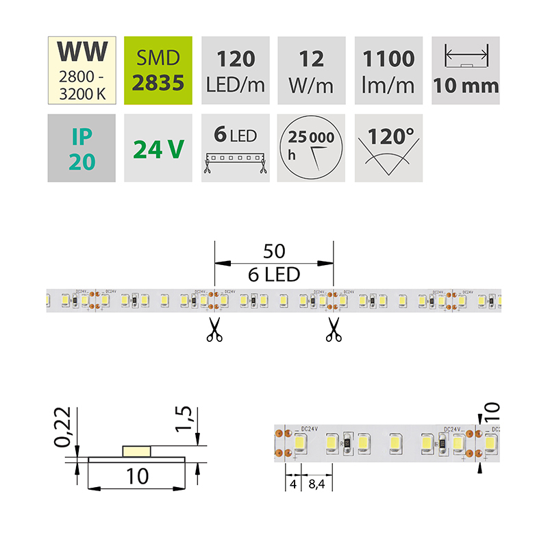 LED pásek SMD2835 teple bílá 10mm IP20, McLED 120 LED/metr, 12 W/metr, DC 24 V, IP20