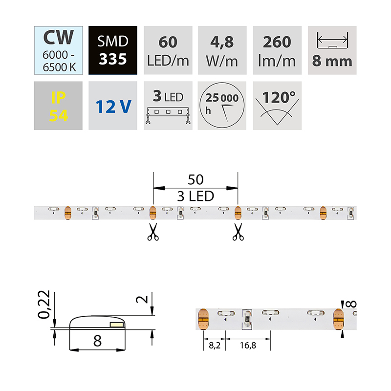 LED pásek SMD335 studená bílá 8mm IP54, McLED 60 LED/metr, 4,8 W/metr, DC 12 V, IP54