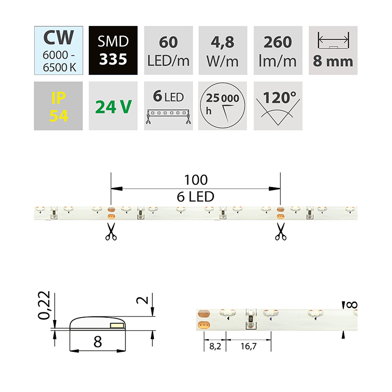 LED pásek SMD335 studená bílá 8mm IP54, McLED 60 LED/metr, 4,8 W/metr, DC 24V, IP54