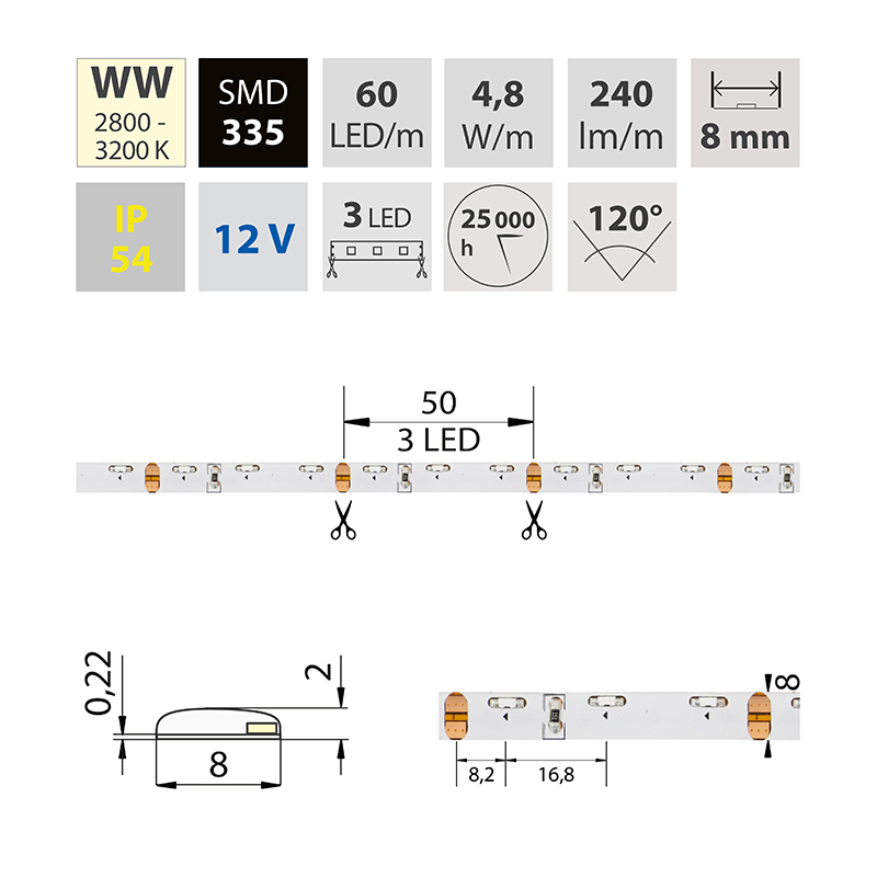LED pásek SMD335 teple bílá 8mm IP54, McLED 60 LED/metr, 4,8 W/metr, DC 12 V, IP54