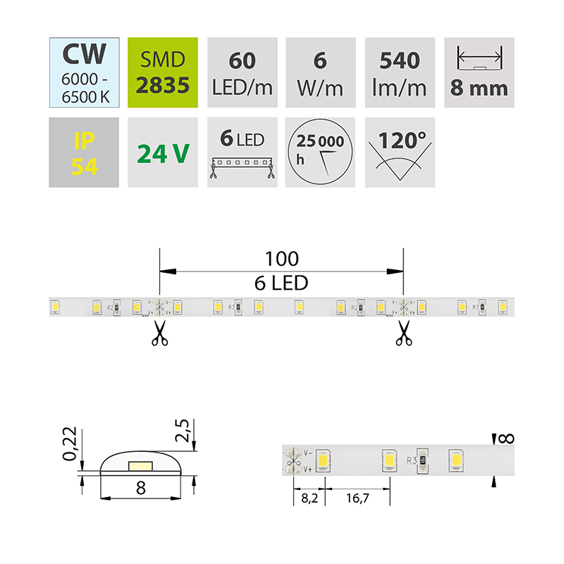 LED pásek SMD2835 studená bílá 8mm IP54, McLED 60 LED/metr, 6 W/metr, DC 24 V, IP54