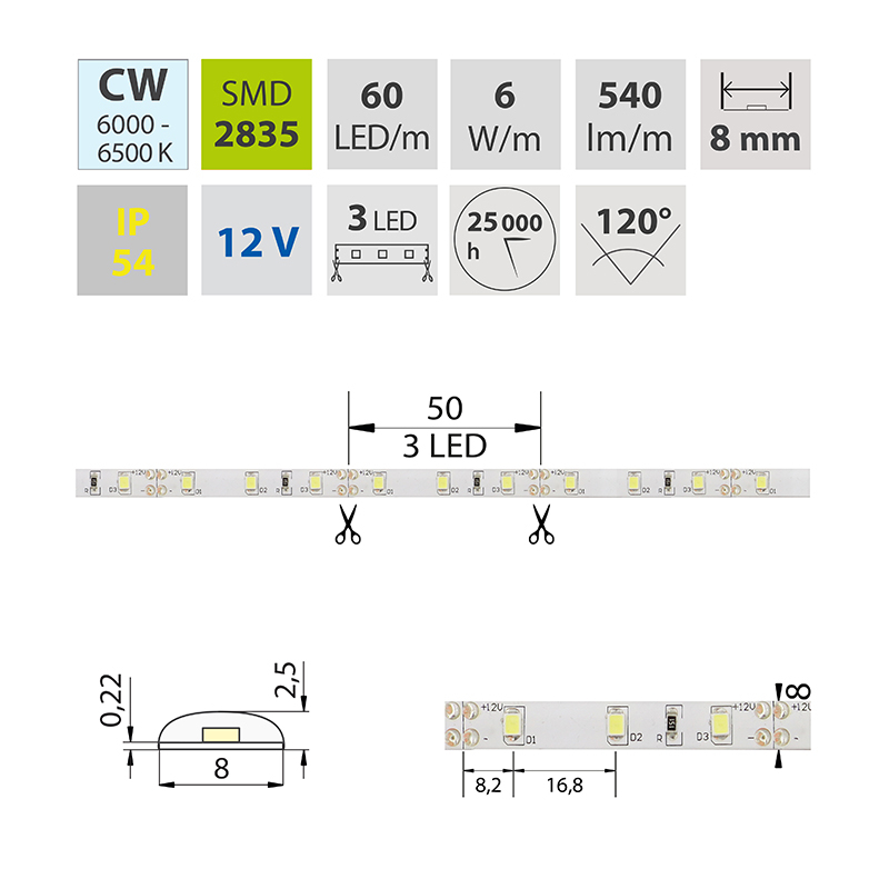 LED pásek SMD2835 studená bílá 8mm IP54, McLED 60 LED/metr, 6 W/metr, DC 12 V, IP54