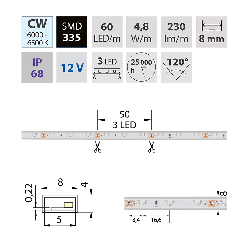 LED pásek SMD335 studená bílá 8mm IP68, McLED 60 LED/metr, 4,8 W/metr, DC 12 V, IP68