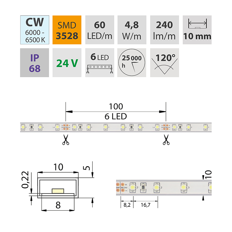LED pásek SMD3528 studená bílá 10mm IP68, McLED 60 LED/metr, 4,8 W/metr, DC 24 V, IP68