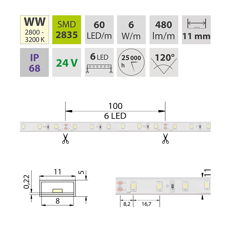 LED pásek SMD2835 teple bílá 11mm IP68, McLED 60 LED/metr, 6 W/metr, DC 24 V, IP68