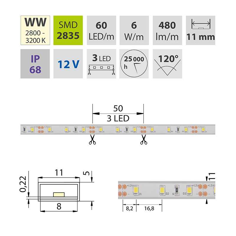 LED pásek SMD2835 teple bílá 11mm IP68, McLED 60 LED/metr, 6 W/metr, DC 12 V, IP68