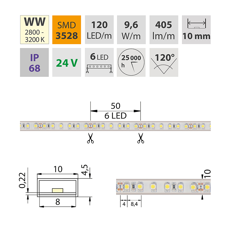 LED pásek SMD3528 teple bílá 10mm IP68, McLED 120 LED/metr, 9,6 W/metr, DC 24 V, IP68