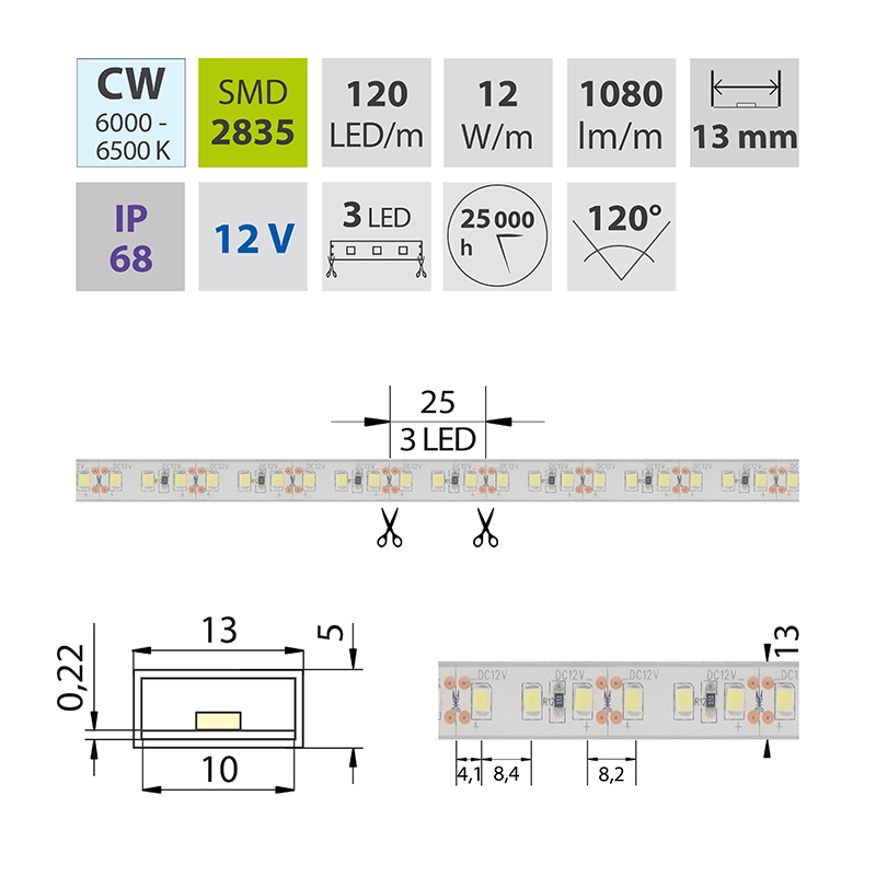 LED pásek SMD2835 studená bílá 1x3mm IP68, McLED 120 LED/metr, 12 W/metr, DC 12 V, IP68