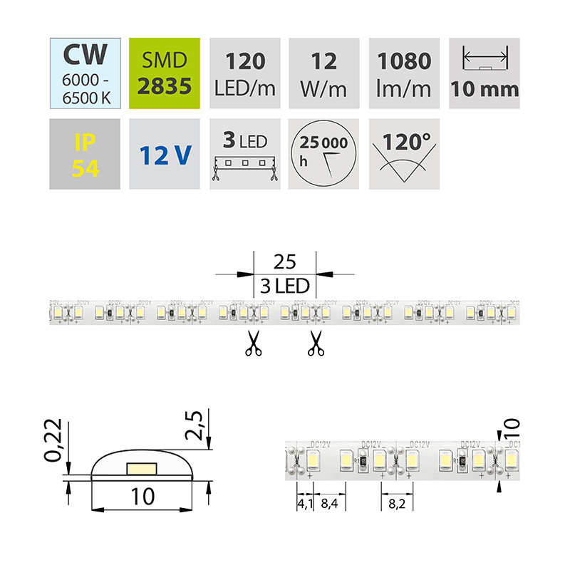 LED pásek SMD2835 studená bílá 10mm IP54, McLED 120 LED/metr, 12 W/metr, DC 12 V, IP54
