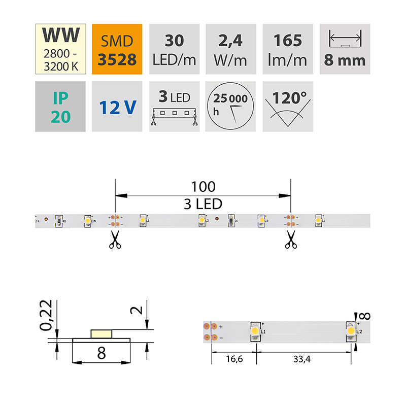 LED pásek SMD3528 teple bílá 8mm IP20, McLED 30 LED/metr, 2,4 W/metr, DC 12 V, IP20