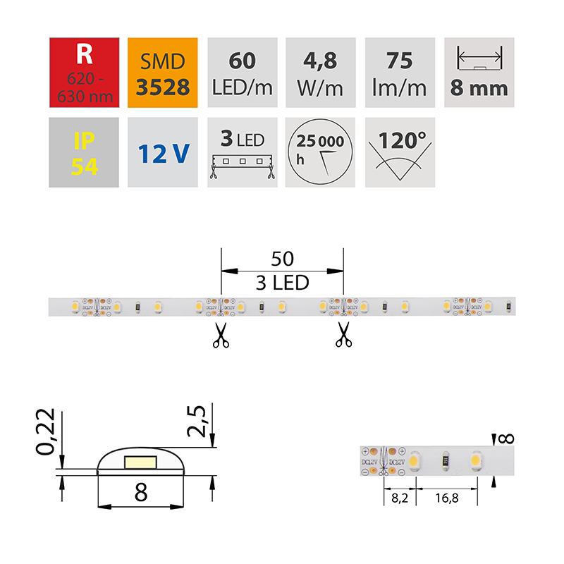 LED pásek SMD3528 červená 8mm IP54, McLED 60 LED/metr, 4,8 W/metr, DC 12 V, IP54