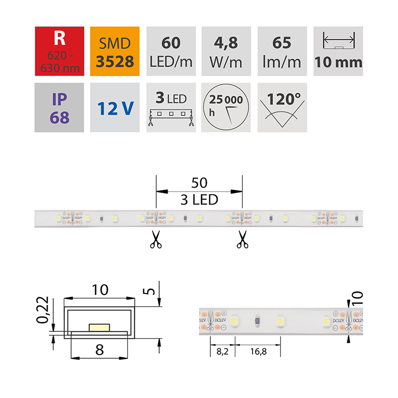 LED pásek SMD3528 červená 10mm IP68, McLED 60 LED/metr, 4,8 W/metr, DC 12 V, IP68