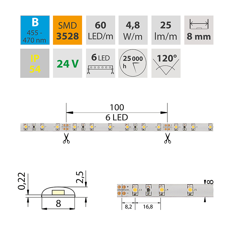 LED pásek SMD3528 modrá 8mm IP54, McLED 60 LED/metr, 4,8 W/metr, DC 24 V, IP54