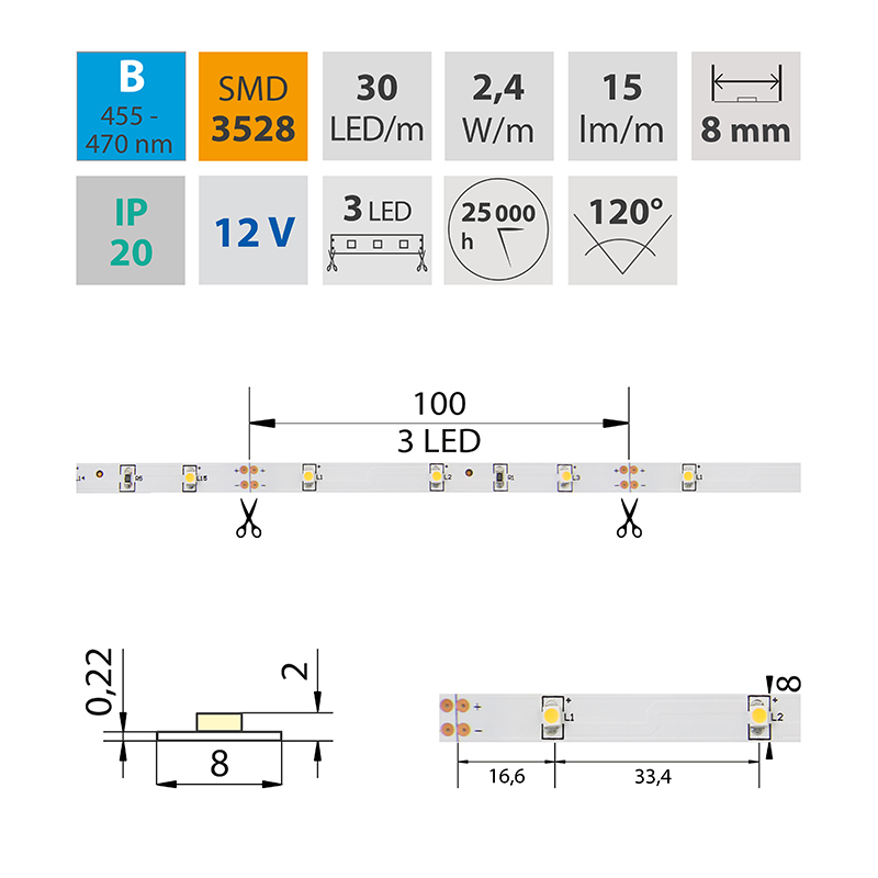LED pásek SMD3528 modrá 8mm IP20, McLED 30 LED/metr, 2,4 W/metr, DC 12 V, IP20