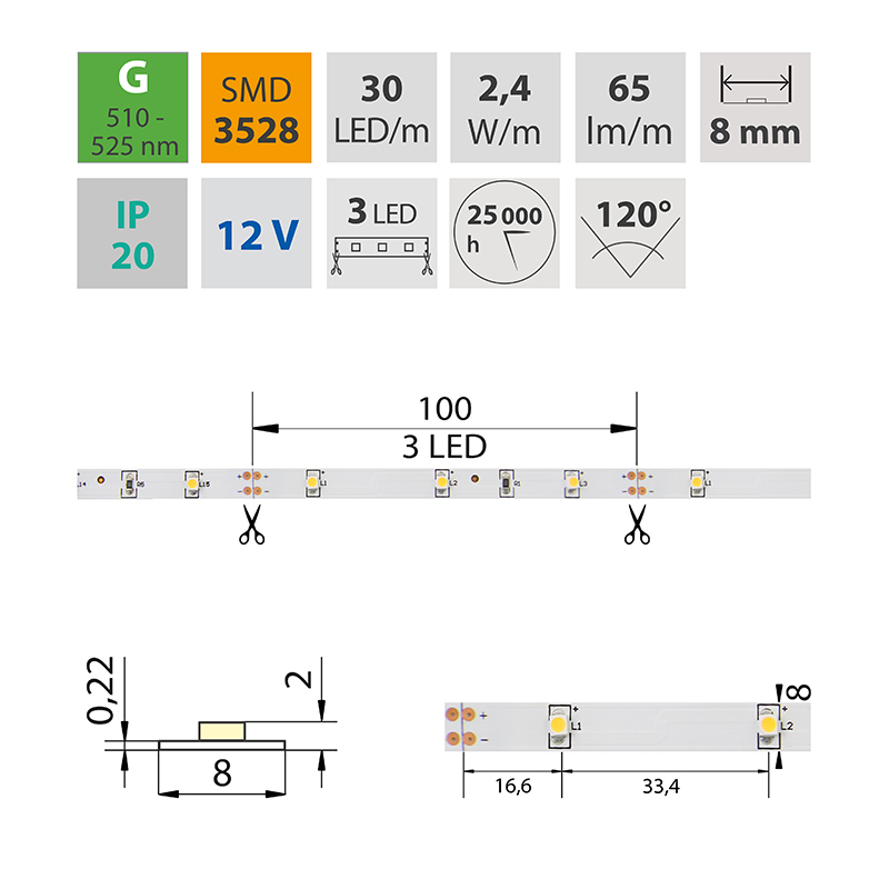 LED pásek SMD3528 zelená 8mm IP20, McLED 30 LED/metr, 2,4 W/metr, DC 12 V, IP20