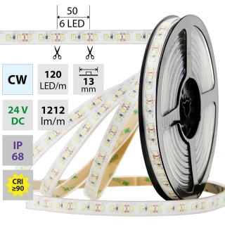 LED PÁSEK SMD2835 CW, 120LED/M, 14W/M, 1212LM/M, IP68, DC 24V, 13MM, 5M